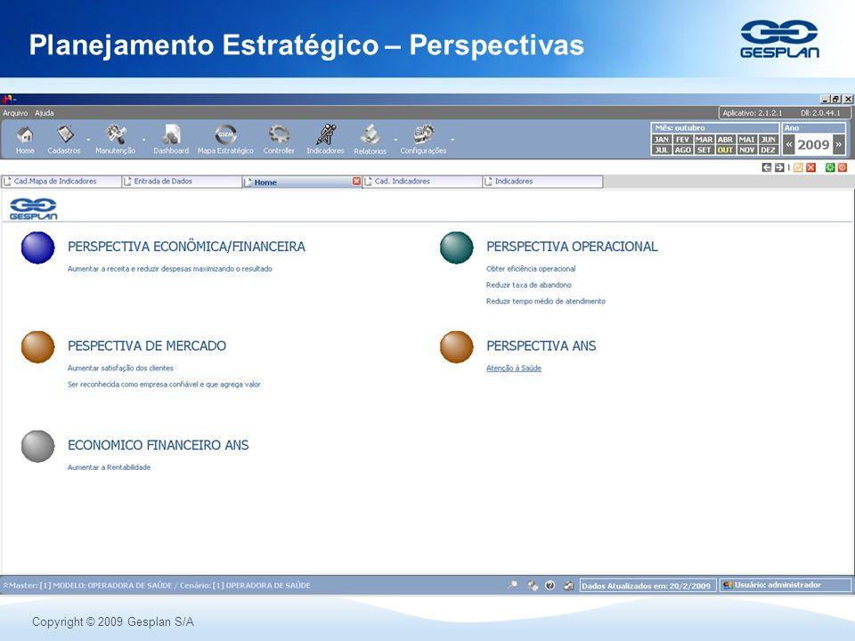 Copyright © 2009 Gesplan S/A Planejamento Estratégico – Perspectivas
