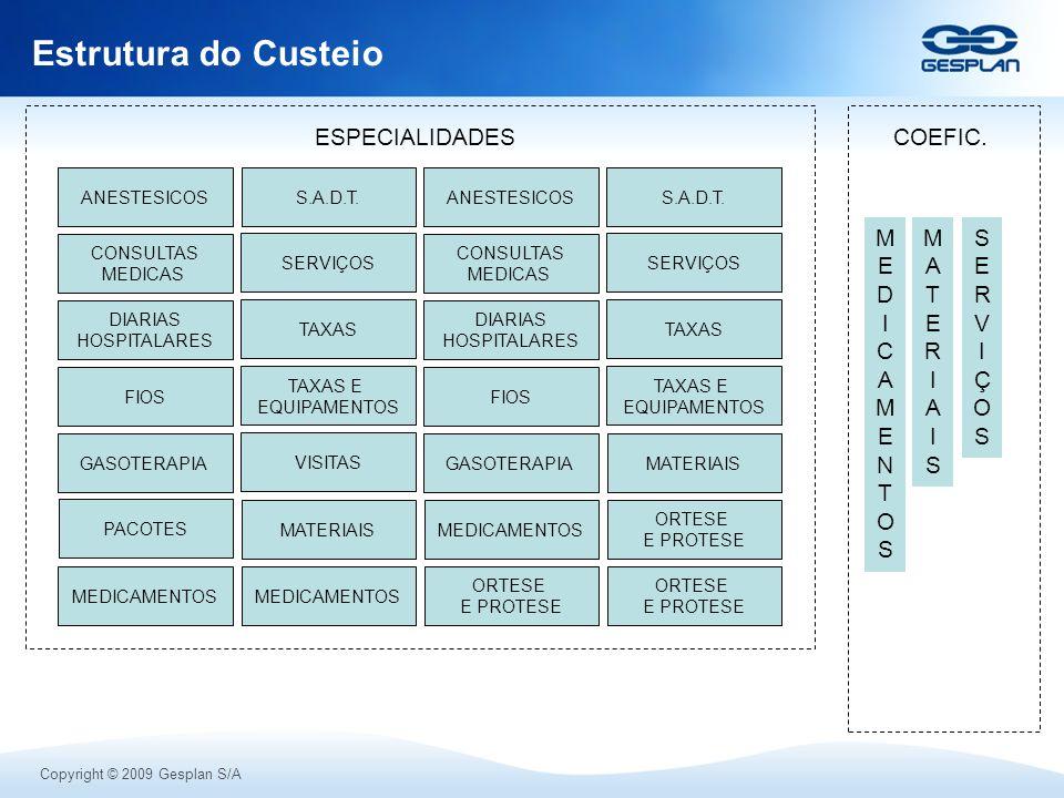 Copyright © 2009 Gesplan S/A Estrutura do Custeio DIARIAS HOSPITALARES CONSULTAS MEDICAS FIOS TAXAS E EQUIPAMENTOS GASOTERAPIA MEDICAMENTOS ANESTESICO