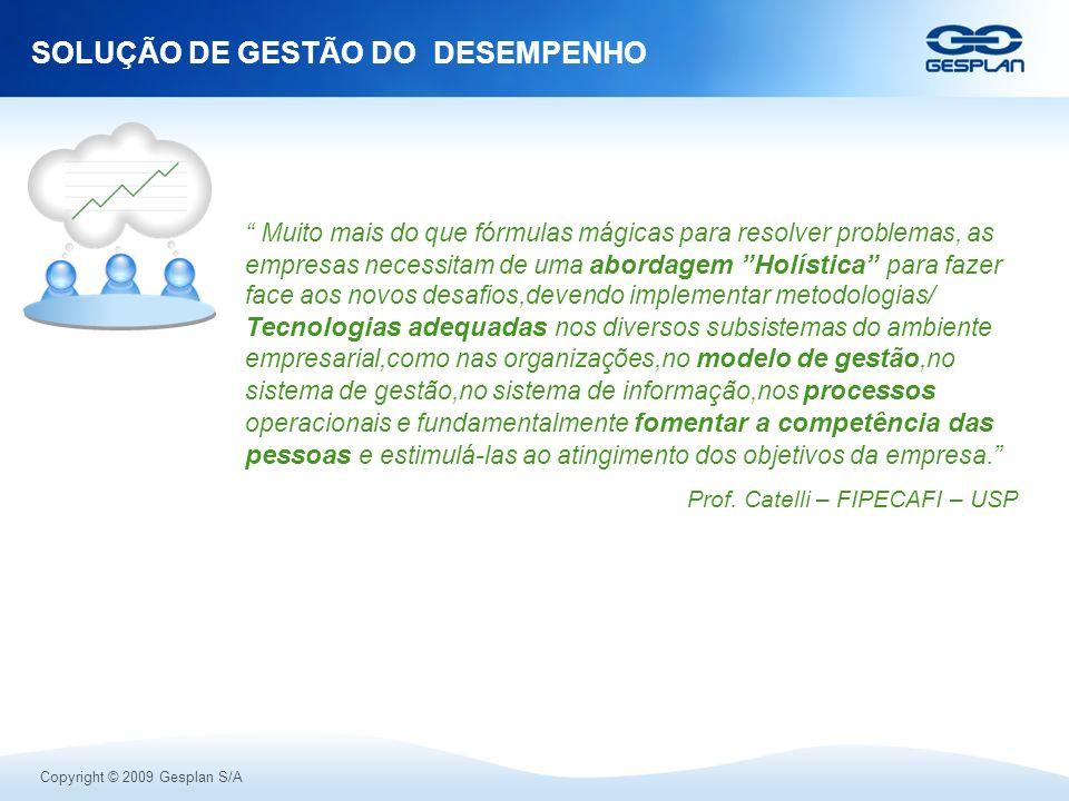 Copyright © 2009 Gesplan S/A SOLUÇÃO DE GESTÃO DO DESEMPENHO Muito mais do que fórmulas mágicas para resolver problemas, as empresas necessitam de uma