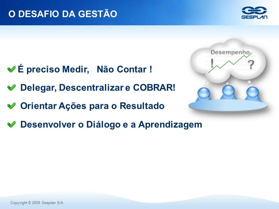 Copyright © 2009 Gesplan S/A É preciso Medir, Não Contar ! Delegar, Descentralizar e COBRAR! Orientar Ações para o Resultado Desenvolver o Diálogo e a