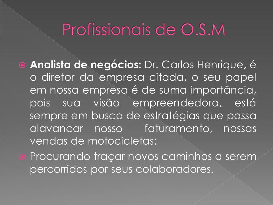 Analista de Processos: Sérgio Vasconcelos, é supervisor das finanças, trabalha diretamente na contabilidade e é responsável por diversos setores dentro da concessionária;