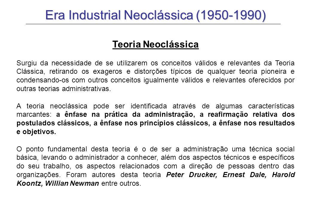 Era Industrial Neoclássica (1950-1990) Teoria Neoclássica Surgiu da necessidade de se utilizarem os conceitos válidos e relevantes da Teoria Clássica,