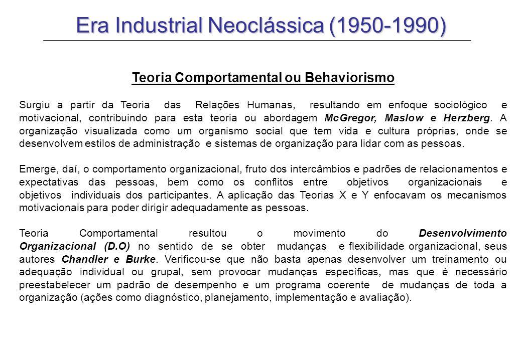 Era Industrial Neoclássica (1950-1990) Teoria Contingencial Enfatiza as pessoas, tarefas, tecnologia, administração e ambiente, formando uma dependência uns com outros.