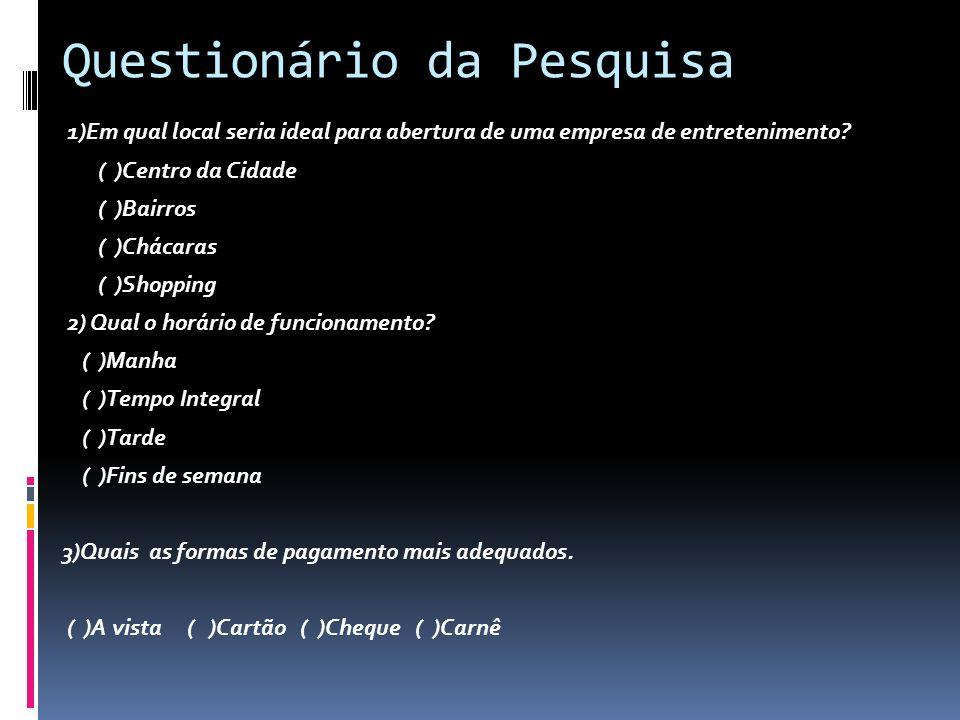 Questionário da Pesquisa 1)Em qual local seria ideal para abertura de uma empresa de entretenimento.