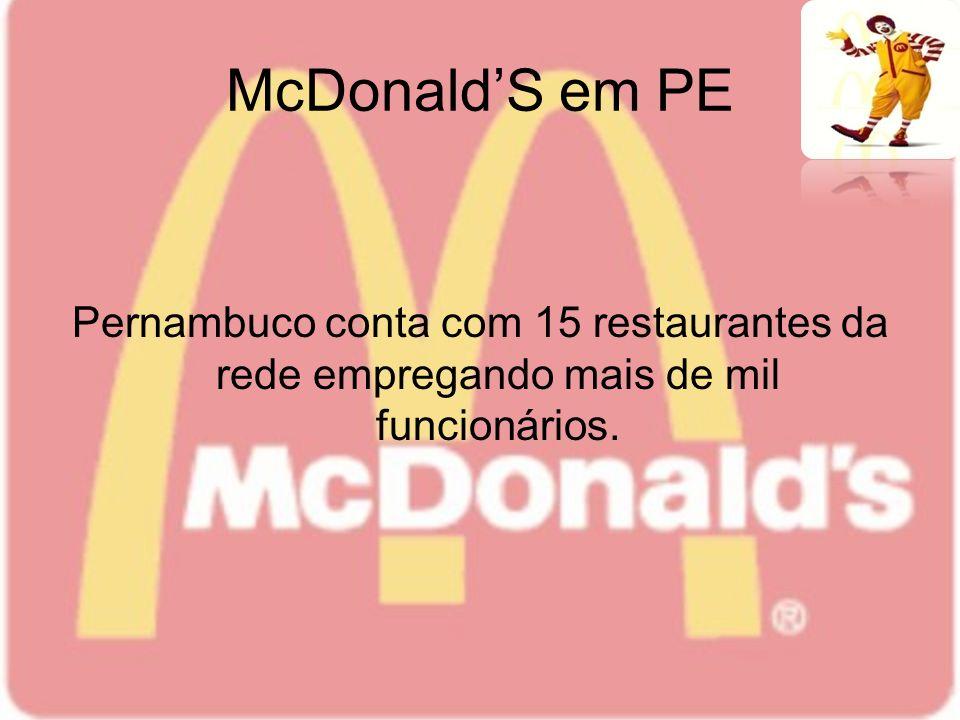 McDonaldS em PE Pernambuco conta com 15 restaurantes da rede empregando mais de mil funcionários.