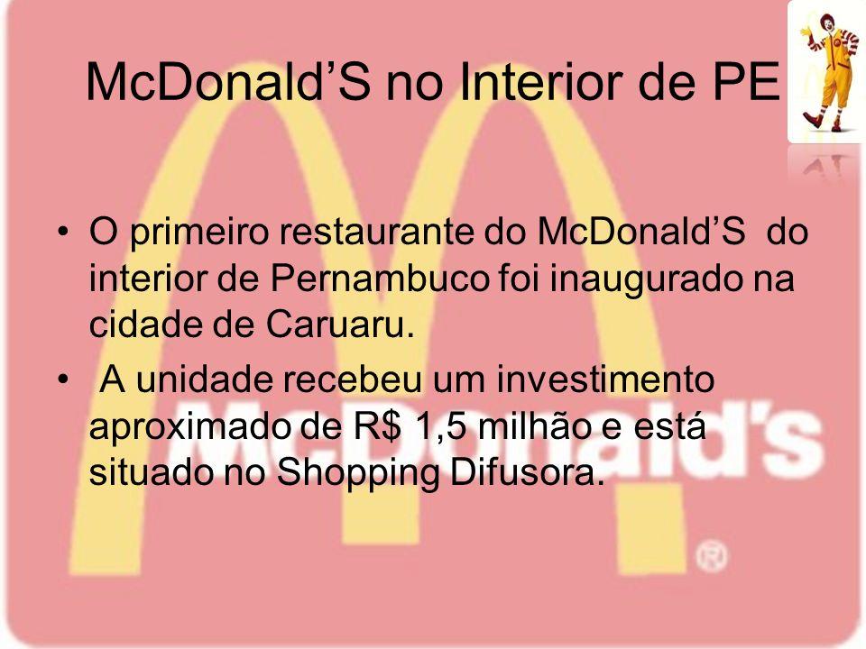 McDonaldS no Interior de PE O primeiro restaurante do McDonaldS do interior de Pernambuco foi inaugurado na cidade de Caruaru. A unidade recebeu um in