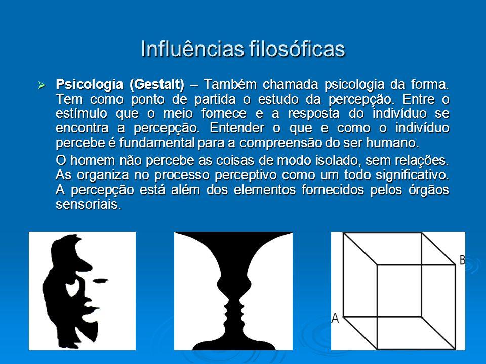 Influências filosóficas Psicologia (Gestalt) – Também chamada psicologia da forma. Tem como ponto de partida o estudo da percepção. Entre o estímulo q