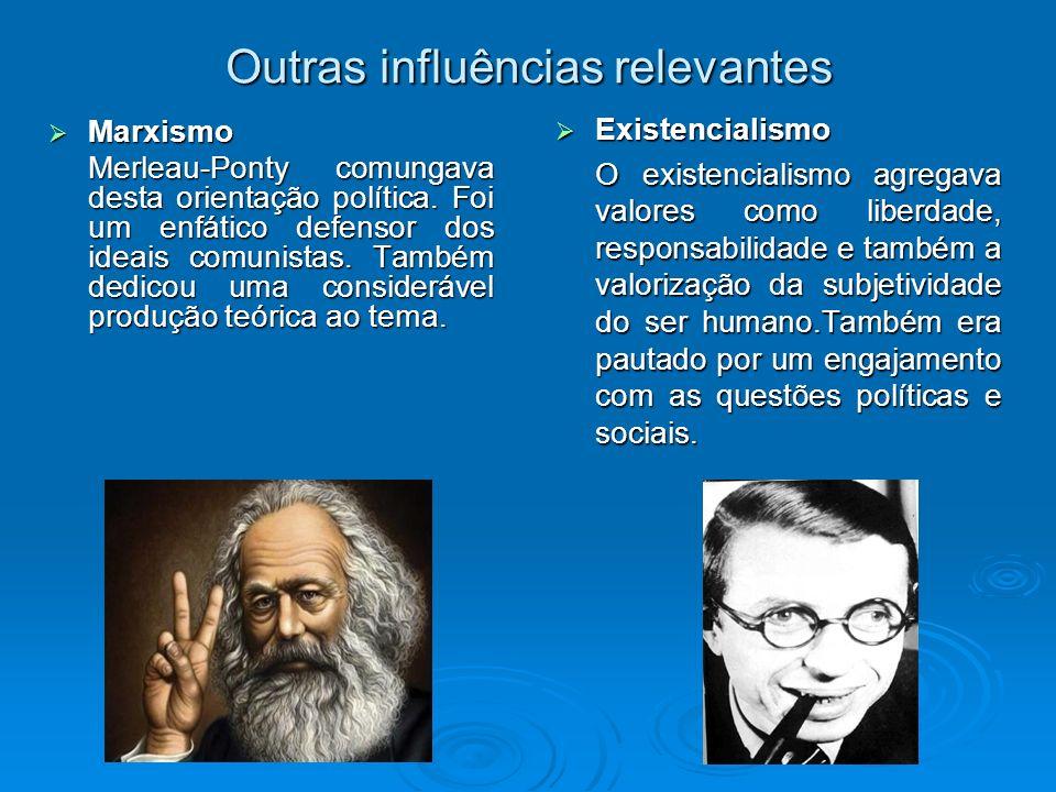 Outras influências relevantes Marxismo Marxismo Merleau-Ponty comungava desta orientação política. Foi um enfático defensor dos ideais comunistas. Tam