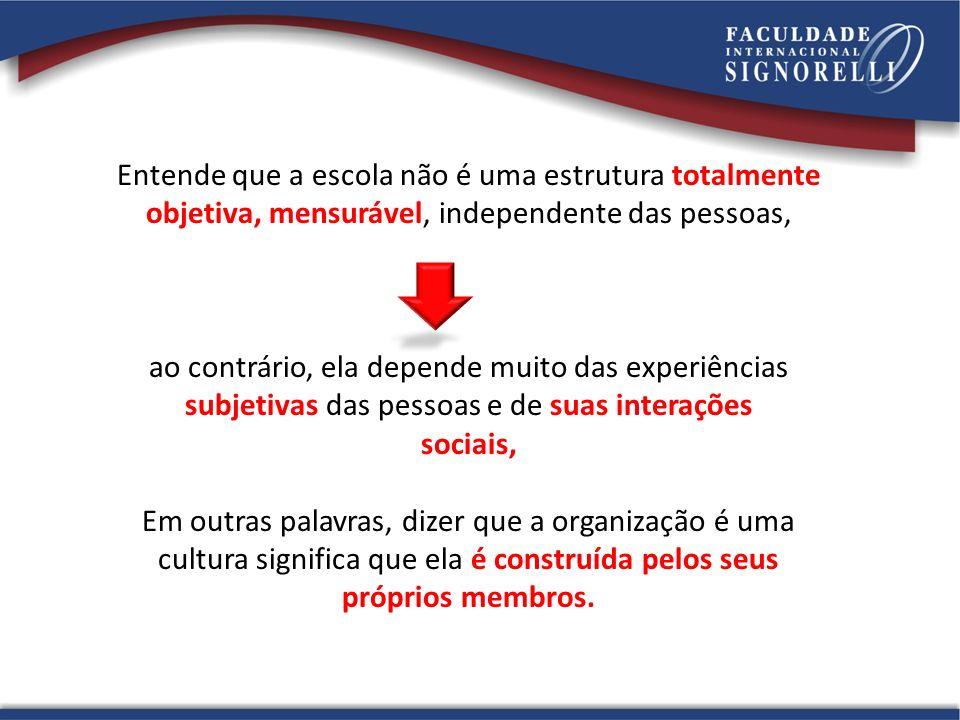 Entende que a escola não é uma estrutura totalmente objetiva, mensurável, independente das pessoas, ao contrário, ela depende muito das experiências s