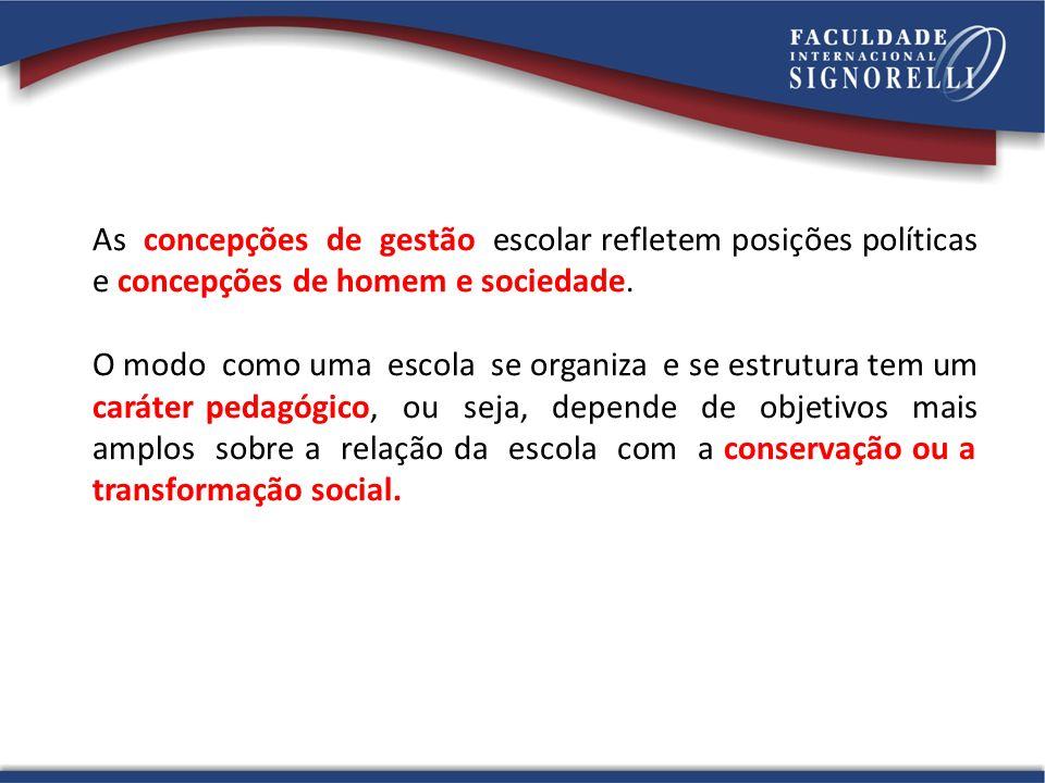 As concepções de gestão escolar refletem posições políticas e concepções de homem e sociedade. O modo como uma escola se organiza e se estrutura tem u