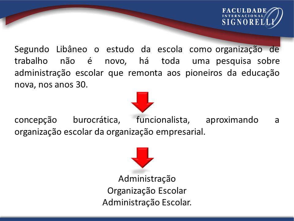 Segundo Libâneo o estudo da escola como organização de trabalho não é novo, há toda uma pesquisa sobre administração escolar que remonta aos pioneiros da educação nova, nos anos 30.