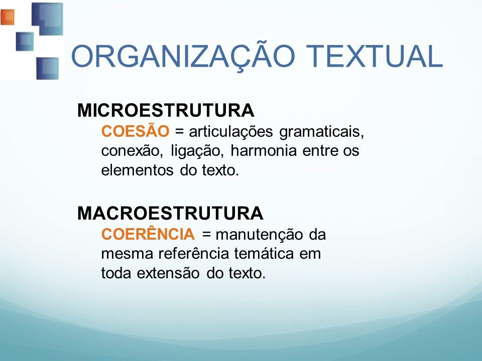 ORGANIZAÇÃO TEXTUAL MICROESTRUTURA COESÃO = articulações gramaticais, conexão, ligação, harmonia entre os elementos do texto. MACROESTRUTURA COERÊNCIA