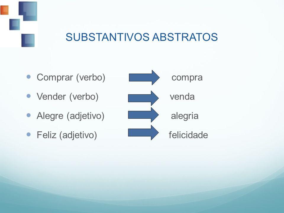 SUBSTANTIVOS ABSTRATOS Comprar (verbo) compra Vender (verbo) venda Alegre (adjetivo) alegria Feliz (adjetivo) felicidade