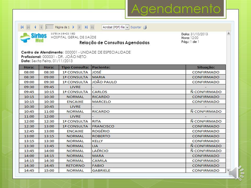 Agendamento 000001 UNIDADE DE ESPECIALIDADE 01/11/2013 CARDIOLOGIA DR. JOÃO NETO