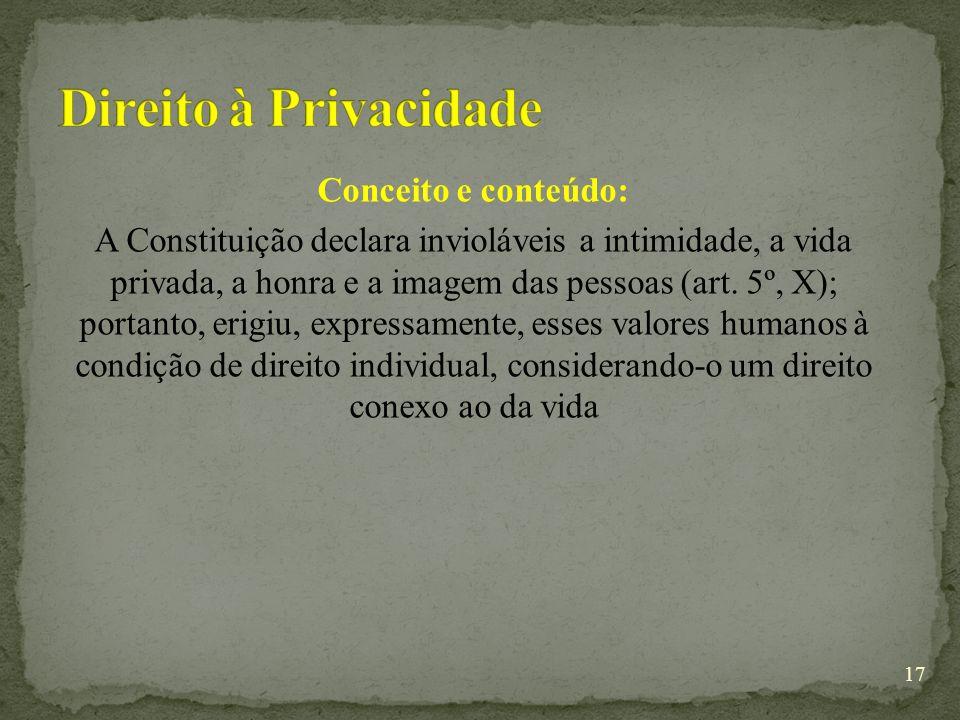 Conceito e conteúdo: A Constituição declara invioláveis a intimidade, a vida privada, a honra e a imagem das pessoas (art.