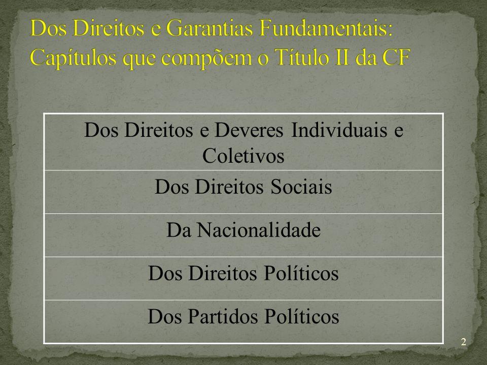 2 Dos Direitos e Deveres Individuais e Coletivos Dos Direitos Sociais Da Nacionalidade Dos Direitos Políticos Dos Partidos Políticos