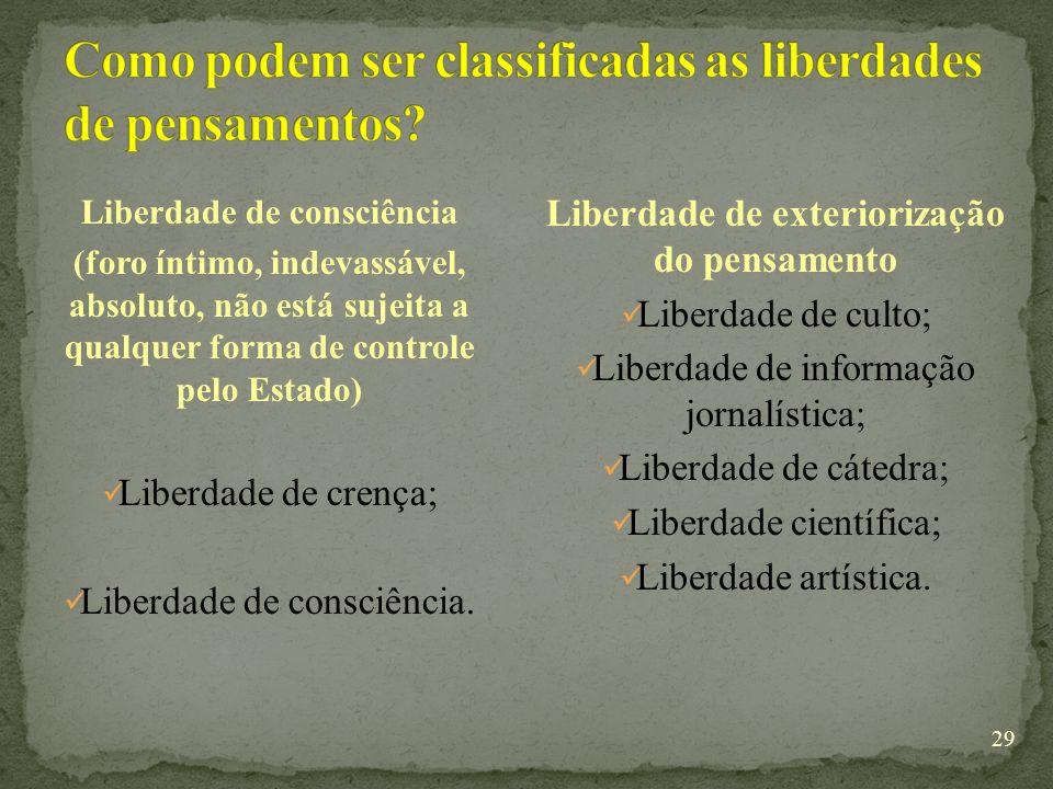 29 Liberdade de consciência (foro íntimo, indevassável, absoluto, não está sujeita a qualquer forma de controle pelo Estado) Liberdade de crença; Liberdade de consciência.