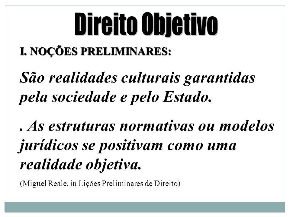 I.NOÇÕES PRELIMINARES: São realidades culturais garantidas pela sociedade e pelo Estado..