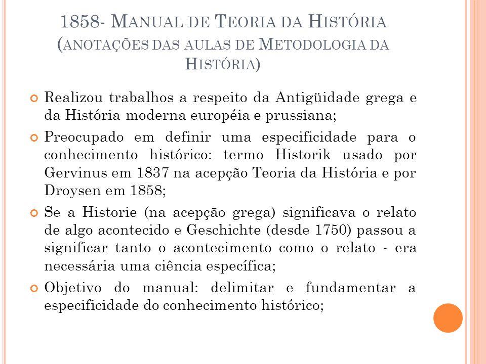 1858- M ANUAL DE T EORIA DA H ISTÓRIA ( ANOTAÇÕES DAS AULAS DE M ETODOLOGIA DA H ISTÓRIA ) Realizou trabalhos a respeito da Antigüidade grega e da His