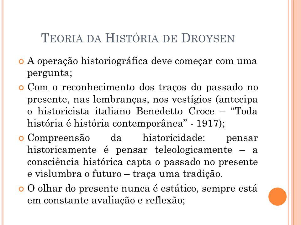T EORIA DA H ISTÓRIA DE D ROYSEN A operação historiográfica deve começar com uma pergunta; Com o reconhecimento dos traços do passado no presente, nas