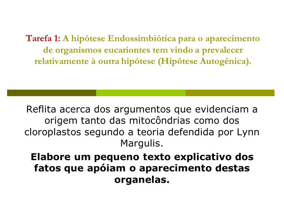 Tarefa 1: A hipótese Endossimbiótica para o aparecimento de organismos eucariontes tem vindo a prevalecer relativamente à outra hipótese (Hipótese Aut