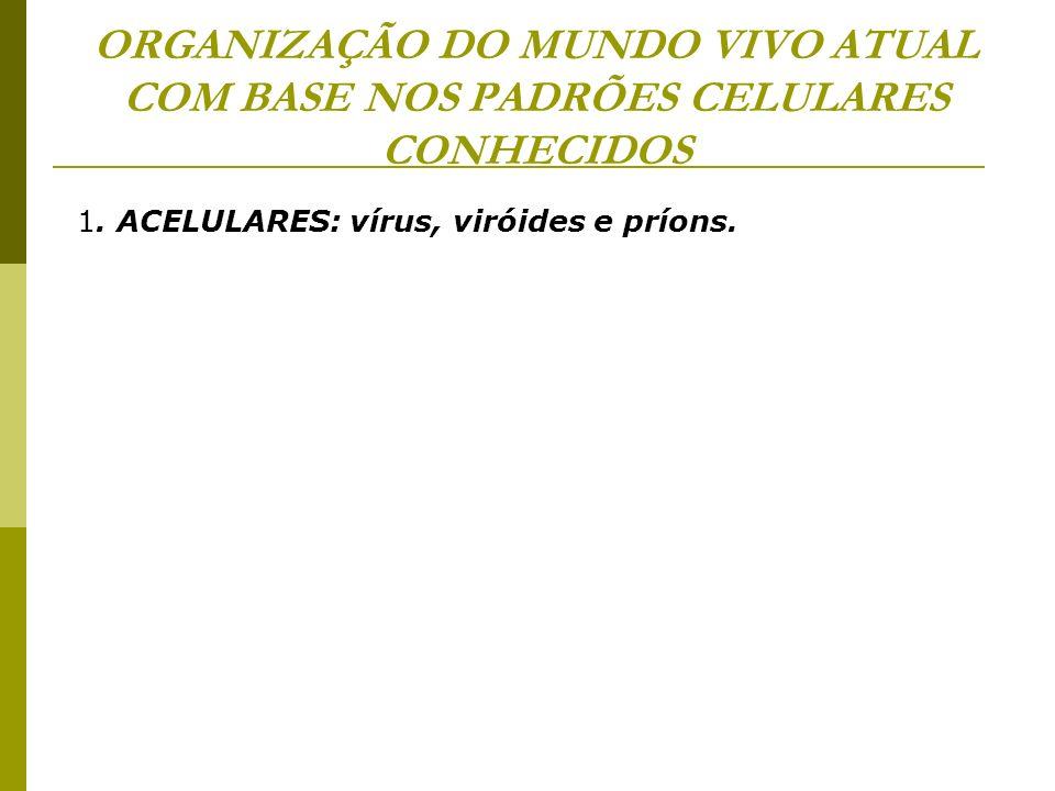 ORGANIZAÇÃO DO MUNDO VIVO ATUAL COM BASE NOS PADRÕES CELULARES CONHECIDOS 1. ACELULARES: vírus, viróides e príons.