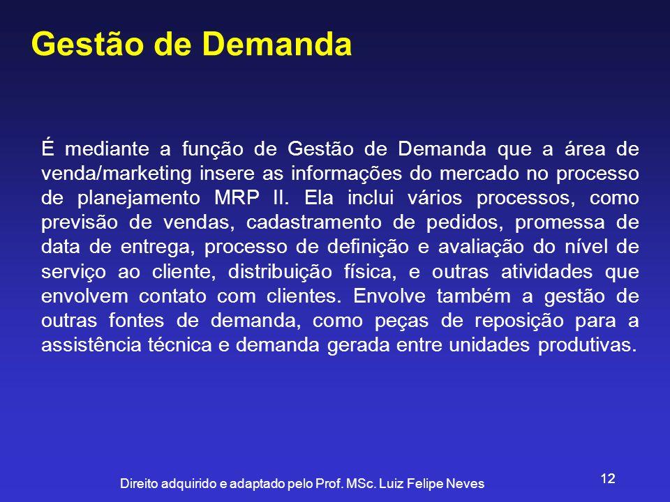 Direito adquirido e adaptado pelo Prof. MSc. Luiz Felipe Neves 12 Gestão de Demanda É mediante a função de Gestão de Demanda que a área de venda/marke
