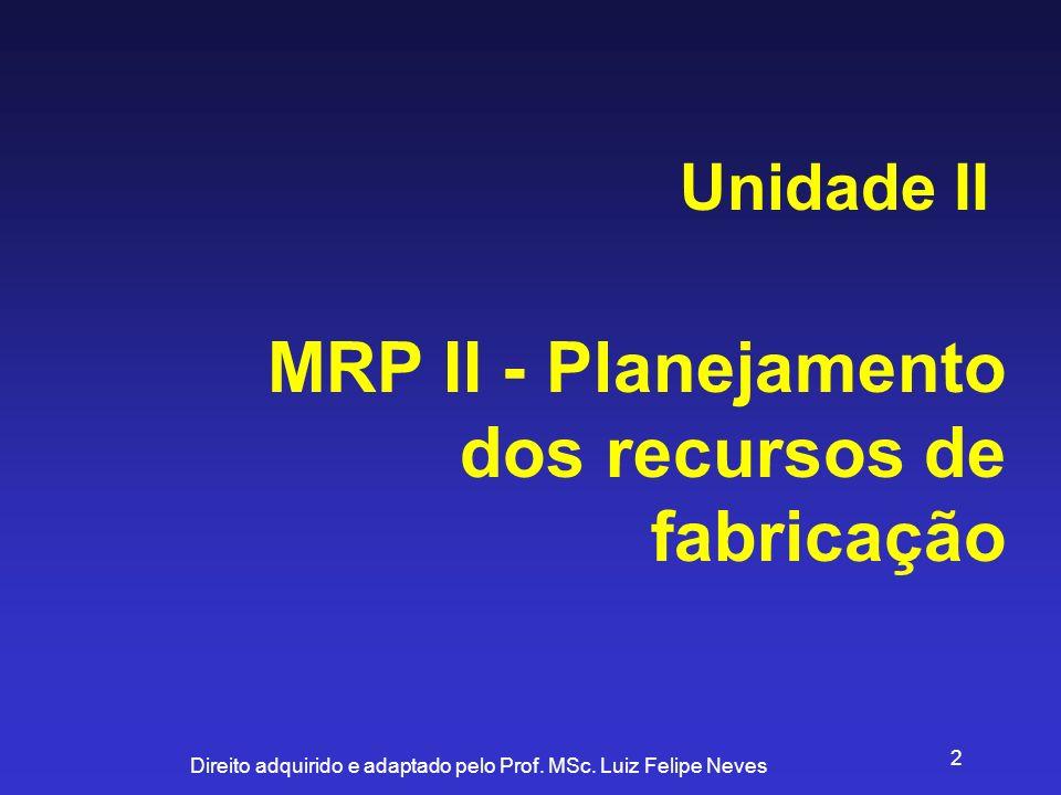 Direito adquirido e adaptado pelo Prof. MSc. Luiz Felipe Neves 2 MRP II - Planejamento dos recursos de fabricação Unidade II