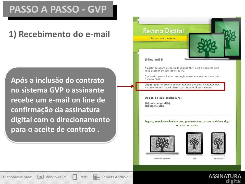 ASSINATURA digital PASSO A PASSO - GVP Após a inclusão do contrato no sistema GVP o assinante recebe um e-mail on line de confirmação da assinatura di