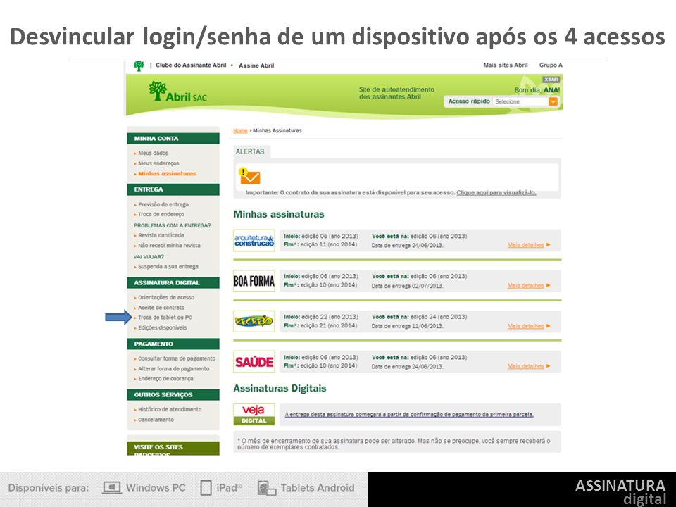 ASSINATURA digital Desvincular login/senha de um dispositivo após os 4 acessos
