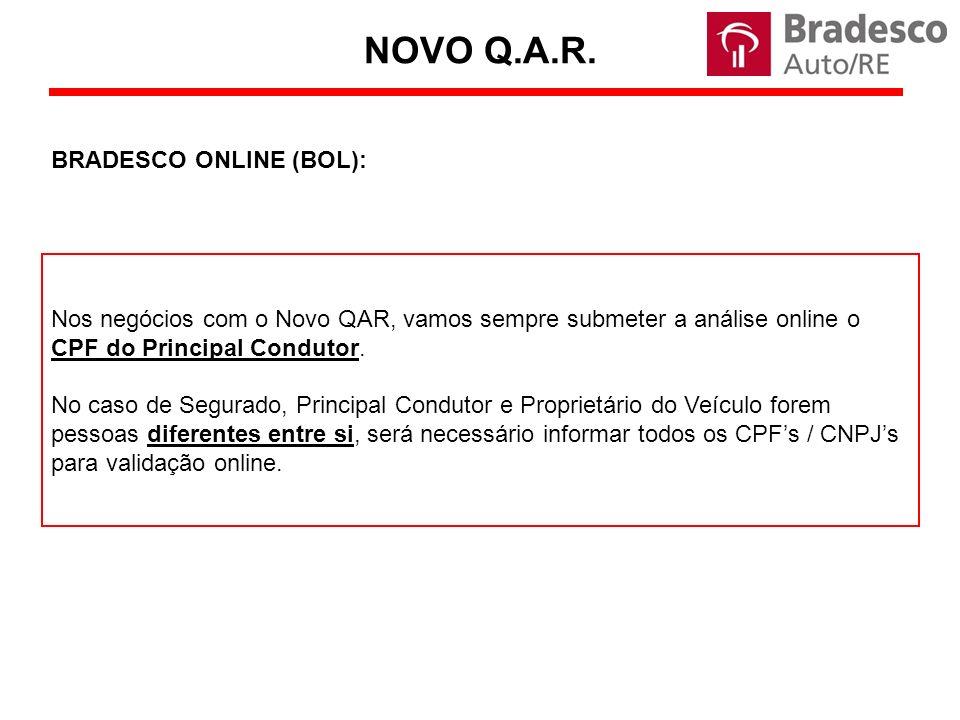 Nos negócios com o Novo QAR, vamos sempre submeter a análise online o CPF do Principal Condutor.