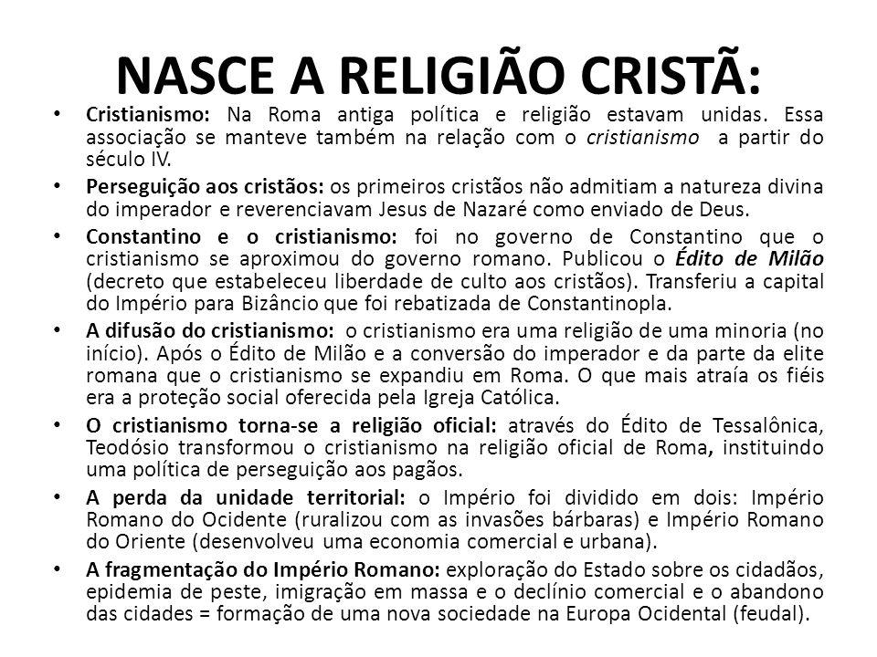 NASCE A RELIGIÃO CRISTÃ: Cristianismo: Na Roma antiga política e religião estavam unidas. Essa associação se manteve também na relação com o cristiani