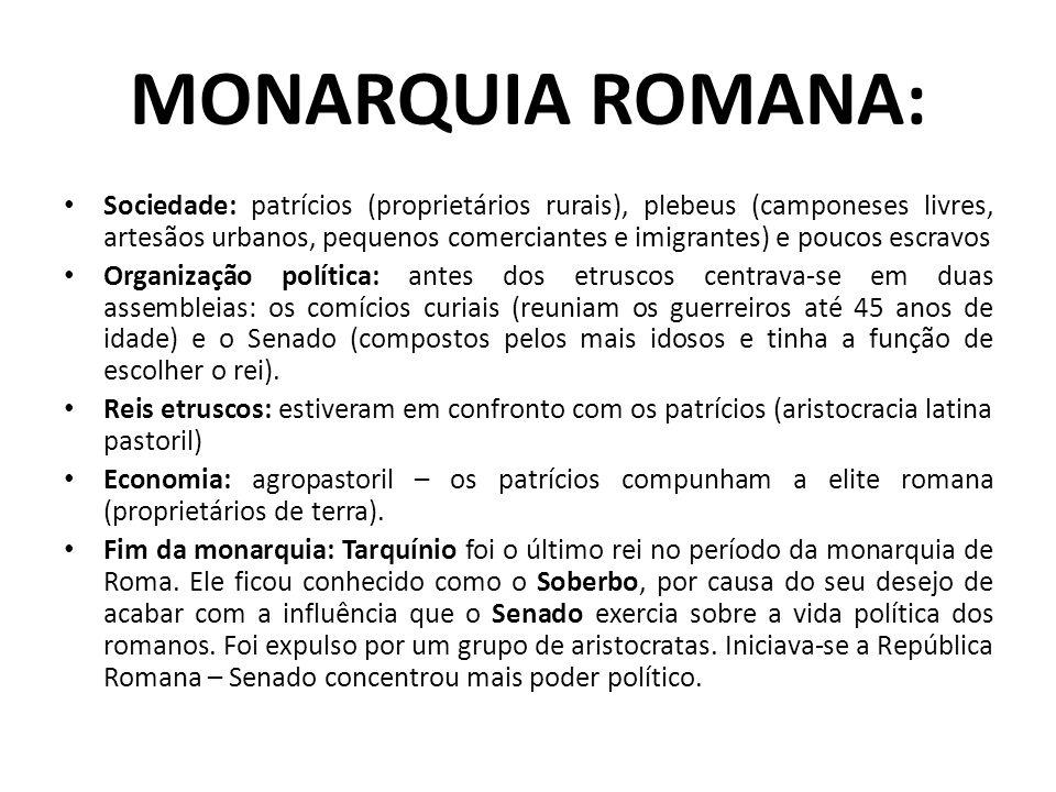 MONARQUIA ROMANA: Sociedade: patrícios (proprietários rurais), plebeus (camponeses livres, artesãos urbanos, pequenos comerciantes e imigrantes) e pou