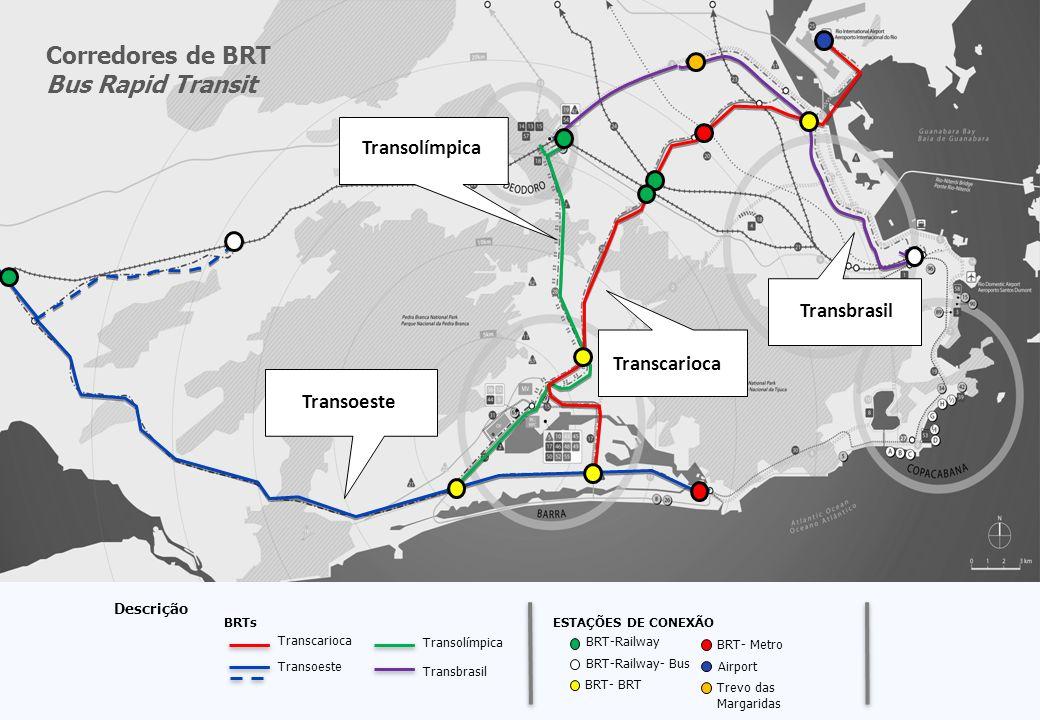 Descrição Transcarioca Transoeste Transolímpica BRTs ESTAÇÕES DE CONEXÃO BRT-Railway BRT-Railway- Bus BRT- BRT BRT- Metro Airport Trevo das Margaridas