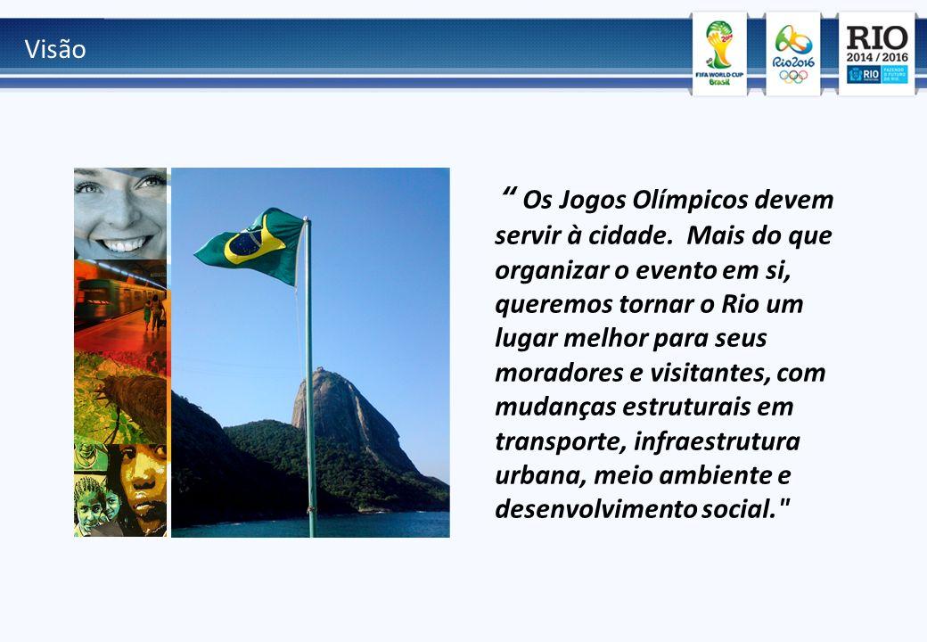 Visão Os Jogos Olímpicos devem servir à cidade. Mais do que organizar o evento em si, queremos tornar o Rio um lugar melhor para seus moradores e visi