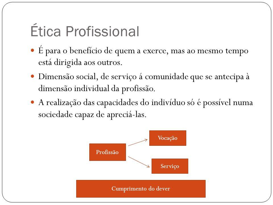 Ética Profissional É para o benefício de quem a exerce, mas ao mesmo tempo está dirigida aos outros. Dimensão social, de serviço á comunidade que se a
