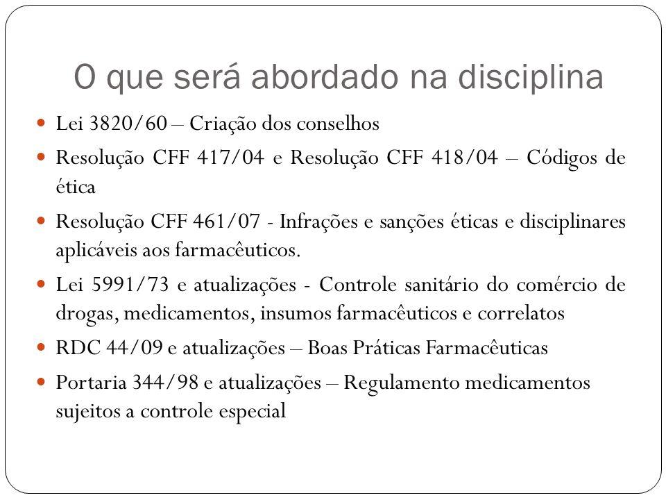 O que será abordado na disciplina Lei 3820/60 – Criação dos conselhos Resolução CFF 417/04 e Resolução CFF 418/04 – Códigos de ética Resolução CFF 461