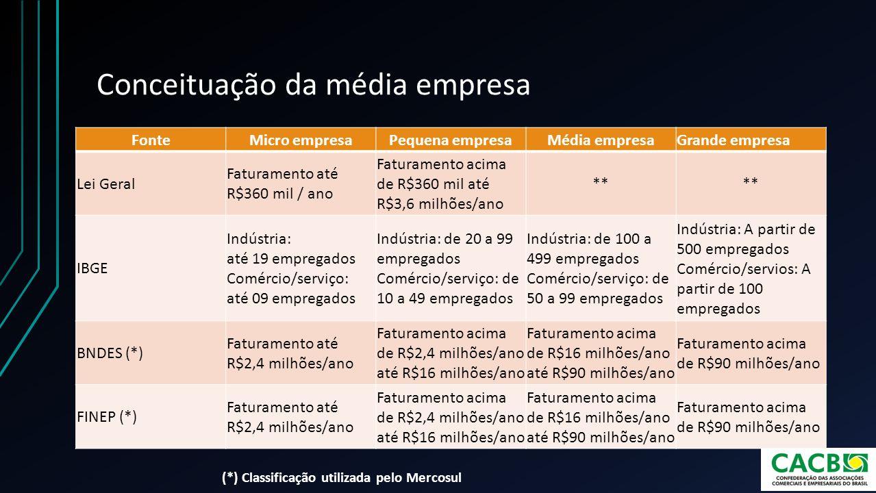 Conceituação da média empresa FonteMicro empresaPequena empresaMédia empresaGrande empresa Lei Geral Faturamento até R$360 mil / ano Faturamento acima