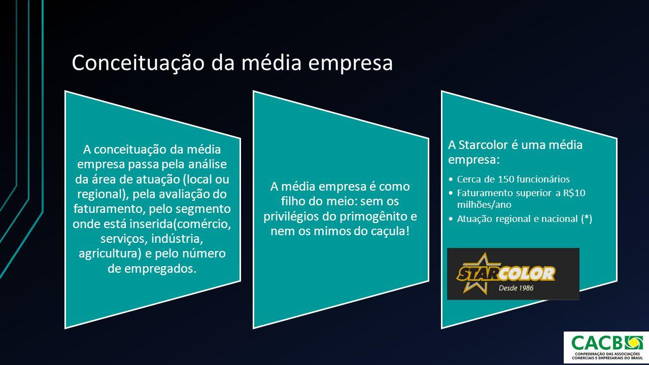 Conceituação da média empresa A conceituação da média empresa passa pela análise da área de atuação (local ou regional), pela avaliação do faturamento