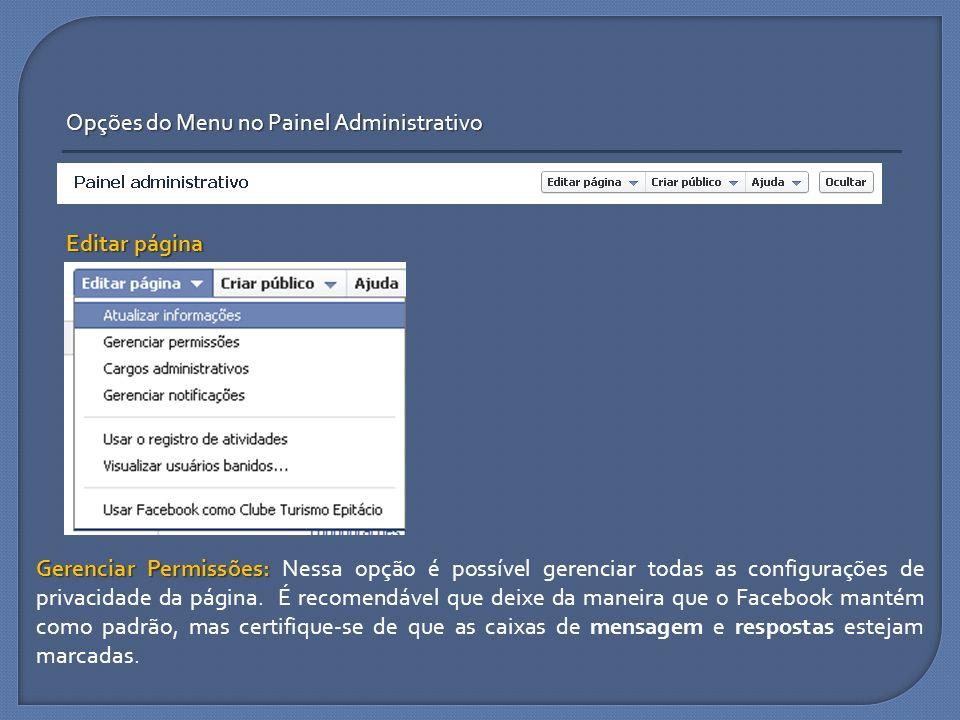 Opções do Menu no Painel Administrativo Editar página Gerenciar Permissões: Gerenciar Permissões: Nessa opção é possível gerenciar todas as configuraç