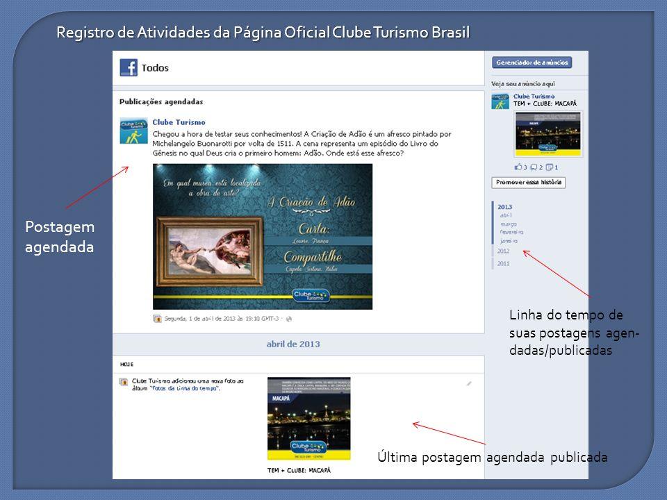 Registro de Atividades da Página Oficial Clube Turismo Brasil Postagem agendada Última postagem agendada publicada Linha do tempo de suas postagens ag
