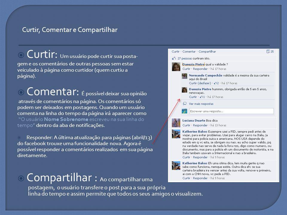 Curtir: Um usuário pode curtir sua posta- gem e os comentários de outras pessoas sem estar veiculado à página como curtidor (quem curtiu a página). Co