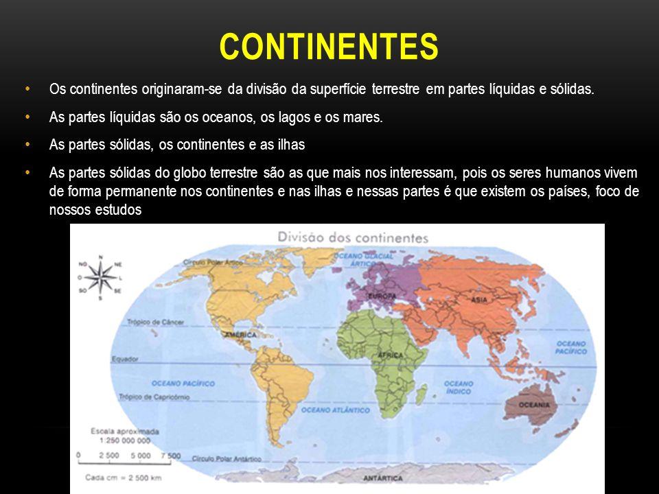 CONTINENTES Os continentes originaram-se da divisão da superfície terrestre em partes líquidas e sólidas.