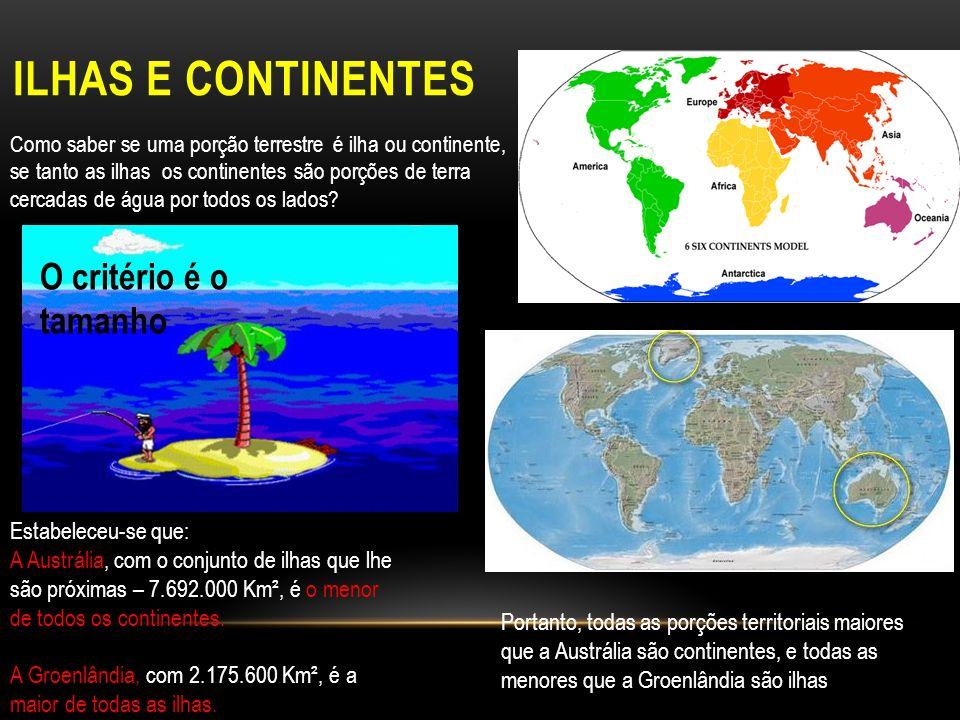 ILHAS E CONTINENTES Como saber se uma porção terrestre é ilha ou continente, se tanto as ilhas os continentes são porções de terra cercadas de água por todos os lados.