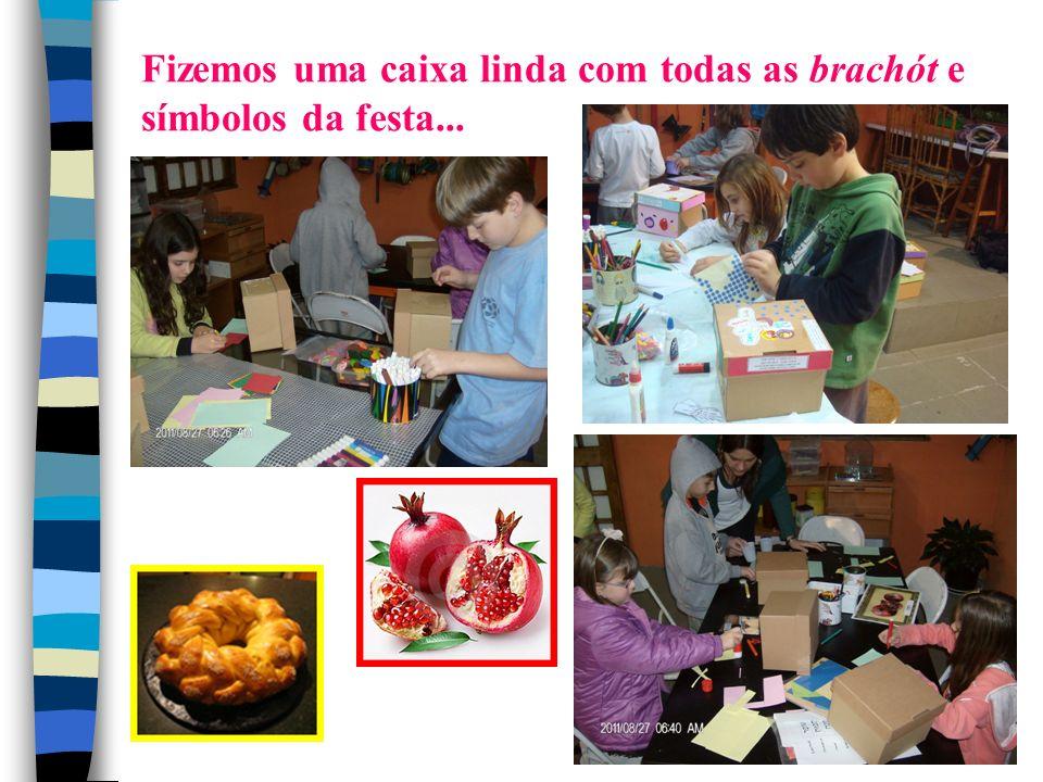 Fizemos uma caixa linda com todas as brachót e símbolos da festa...