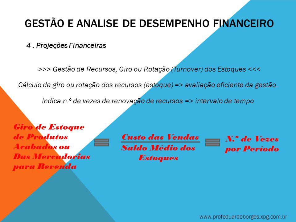 GESTÃO E ANALISE DE DESEMPENHO FINANCEIRO 4. Projeções Financeiras >>> Gestão de Recursos, Giro ou Rotação (Turnover) dos Estoques <<< www.profeduardo