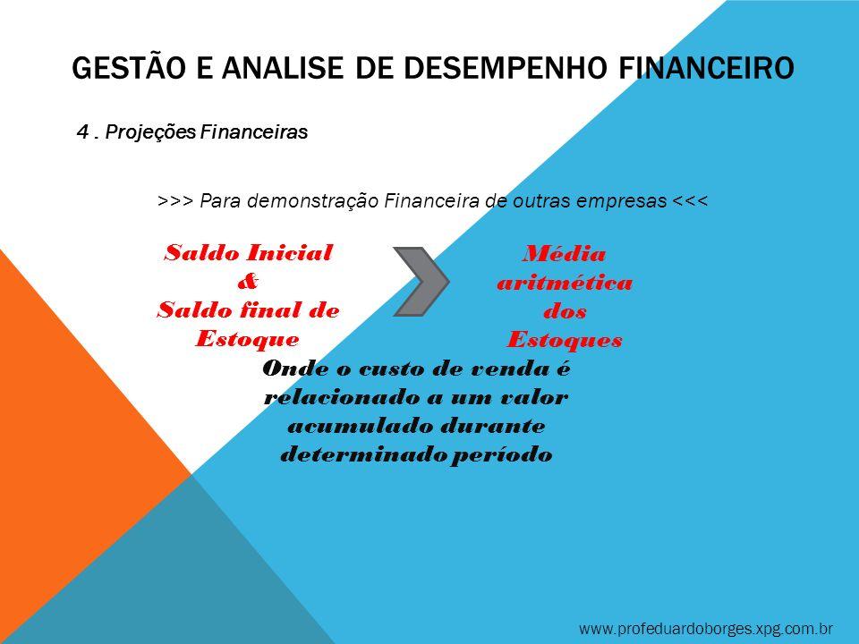 GESTÃO E ANALISE DE DESEMPENHO FINANCEIRO 4. Projeções Financeiras >>> Para demonstração Financeira de outras empresas <<< www.profeduardoborges.xpg.c