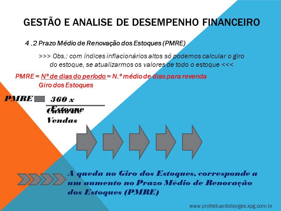 GESTÃO E ANALISE DE DESEMPENHO FINANCEIRO 4.2 Prazo Médio de Renovação dos Estoques (PMRE) >>> Obs.: com índices inflacionários altos só podemos calcu