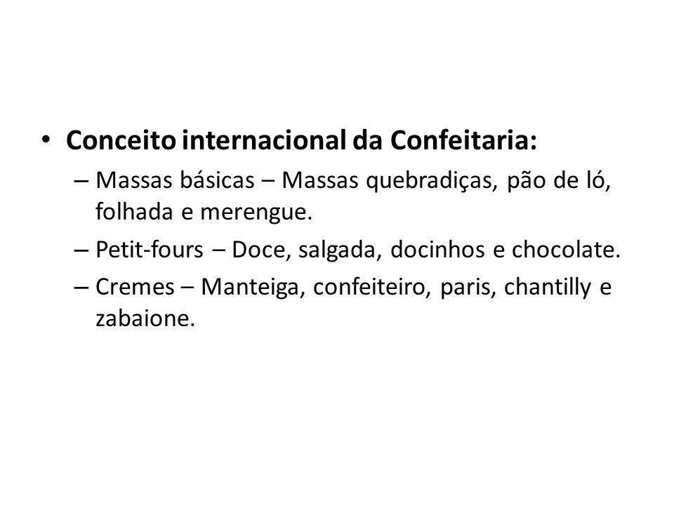 Conceito internacional da Confeitaria: – Massas básicas – Massas quebradiças, pão de ló, folhada e merengue. – Petit-fours – Doce, salgada, docinhos e