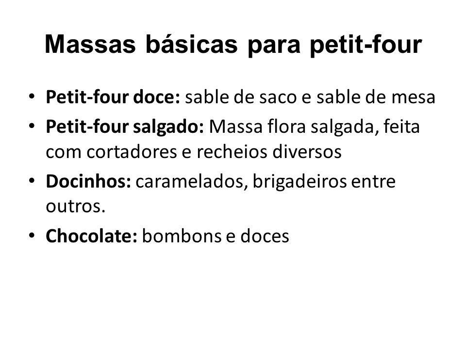 Massas básicas para petit-four Petit-four doce: sable de saco e sable de mesa Petit-four salgado: Massa flora salgada, feita com cortadores e recheios